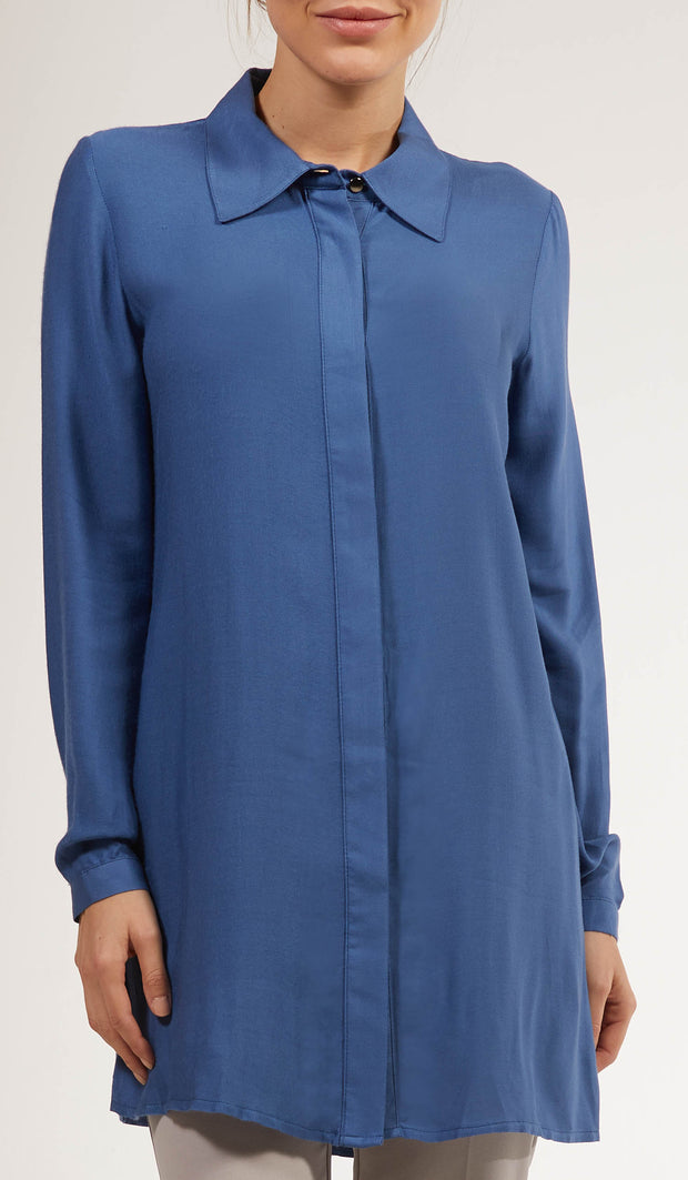Nina Soft Collar Buttondown Dress Shirt - Blue