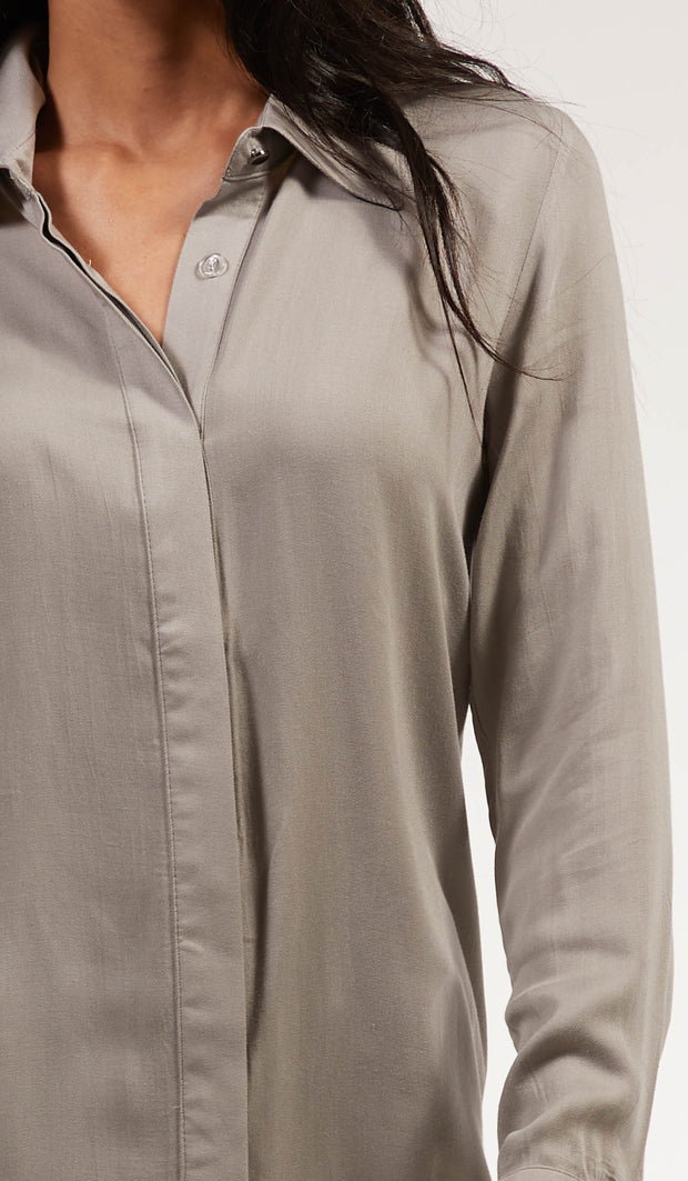 Nina Soft Collar Buttondown Dress Shirt - Gray