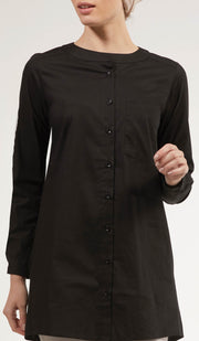 Nobila Simple Cotton Buttondown Dress Shirt - Black