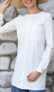 Nobila Simple Cotton Buttondown Dress Shirt - Ivory