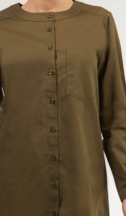 Nobila Simple Cotton Buttondown Dress Shirt - Khaki