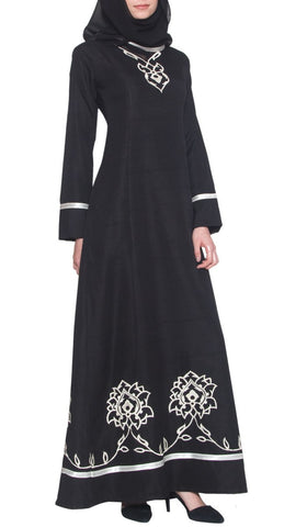 Noor Long Sleeve Modest Muslim Formal Evening Dress - Black