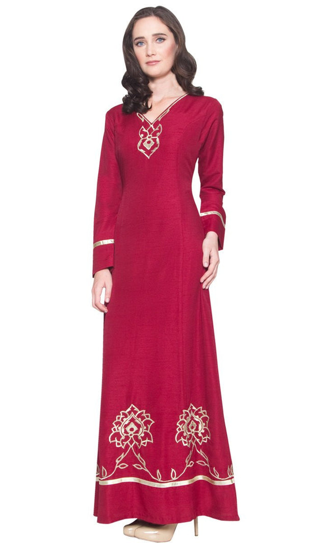 Noor Long Sleeve Modest Muslim Formal Evening Dress - Maroon Red - ARTIZARA.COM
