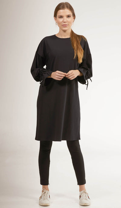 Noori Loose Cotton Jersey Midi Tunic Dress - Black