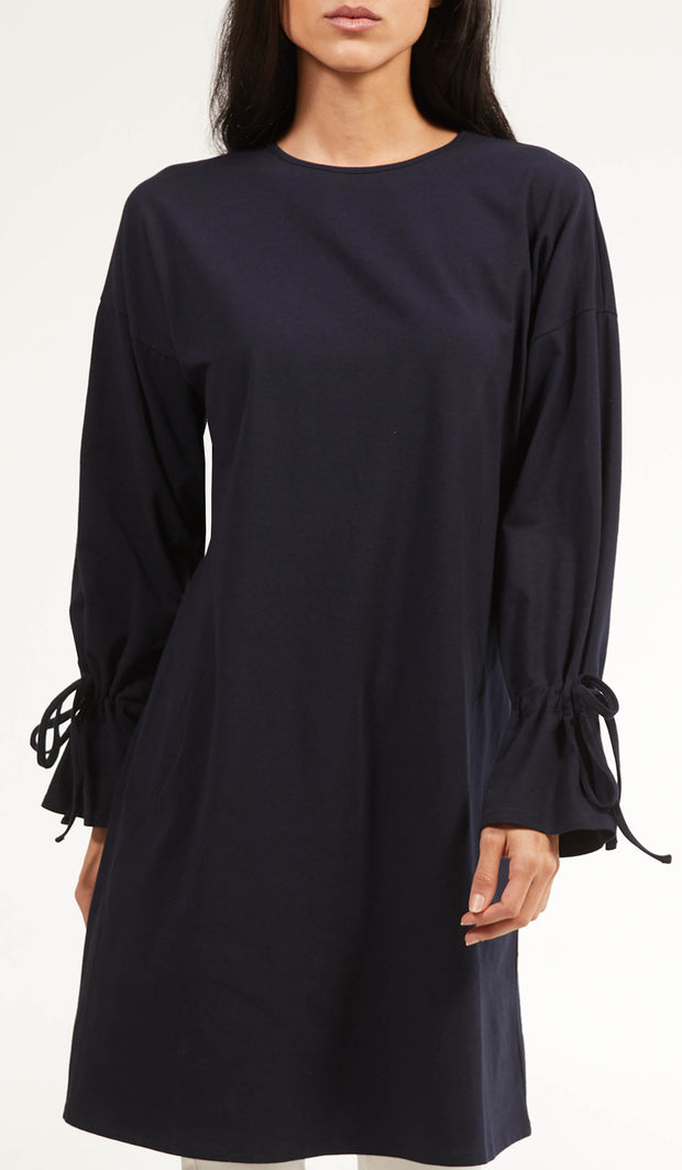 Noori Loose Cotton Jersey Midi Tunic Dress - Navy Blue