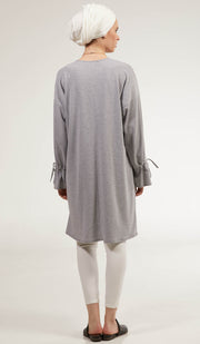 Noori Loose Cotton Jersey Midi Tunic Dress - Heather Gray
