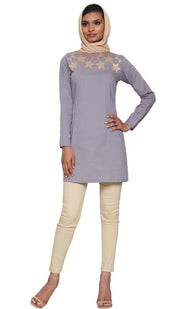 Noshin Fine Cotton Embroidered Modest Muslim Tunic - Gray