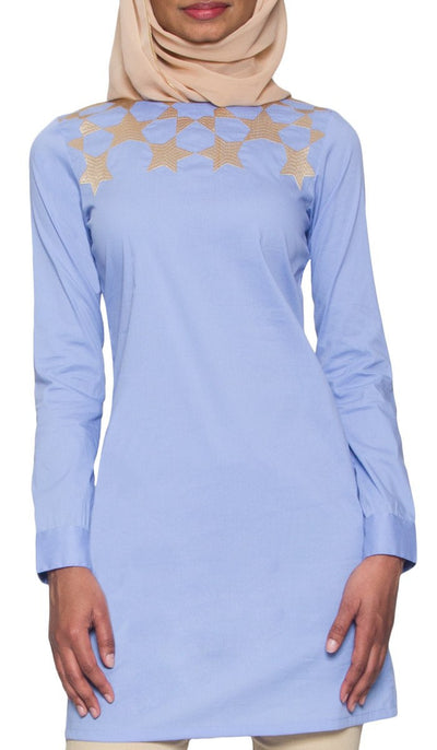 Noshin Fine Cotton Embroidered Modest Muslim Tunic - Sky Blue