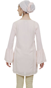 Omide Embroidered Formal Long Modest Tunic - Blush