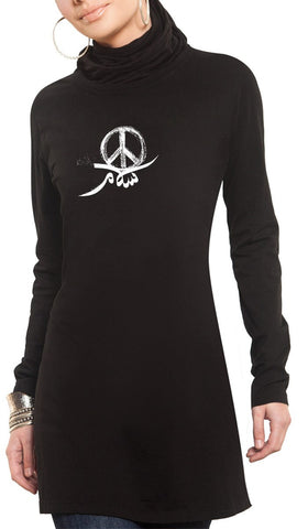 Peace Designer Long Tee - Black - ARTIZARA.COM