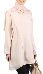 Petal Chiffon Long Modest Tunic - Rose