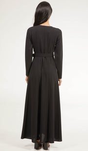 Parees Flared Modest Maxi Dress Abaya - Black
