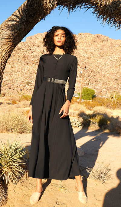 Parees Flared Modest Maxi Dress - Black