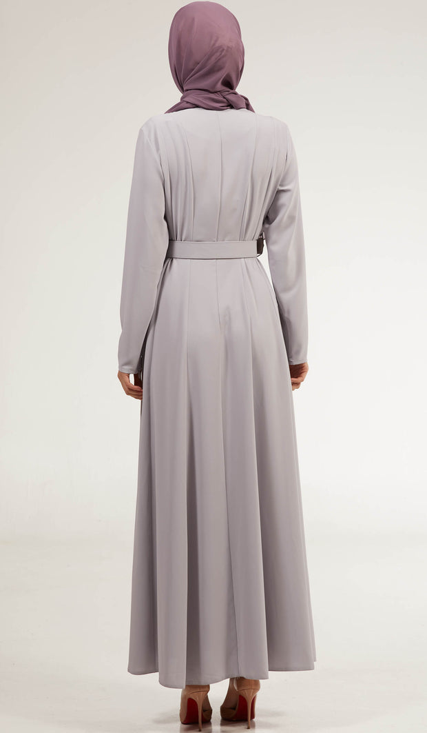 Parees Flared Modest Maxi Dress - Silver