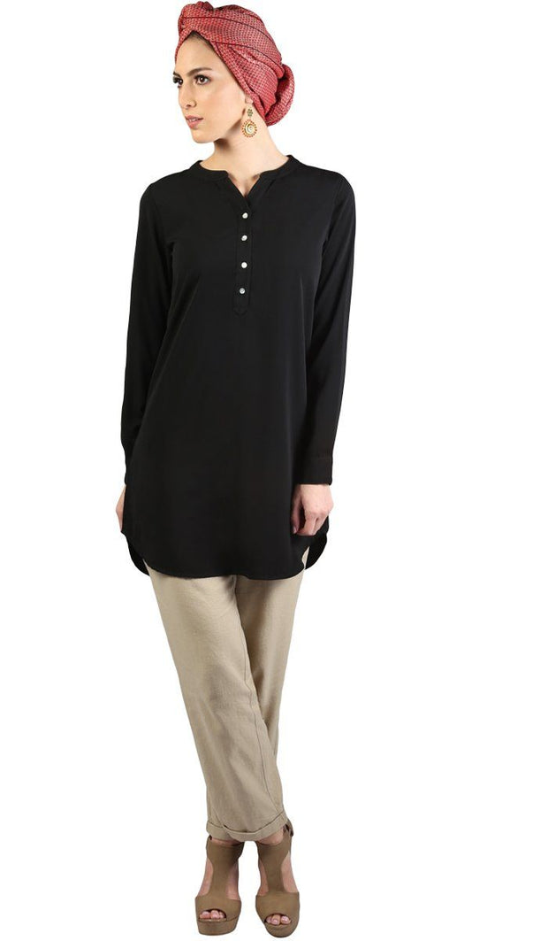 Parisa Long Modest Everyday Tunic - Black