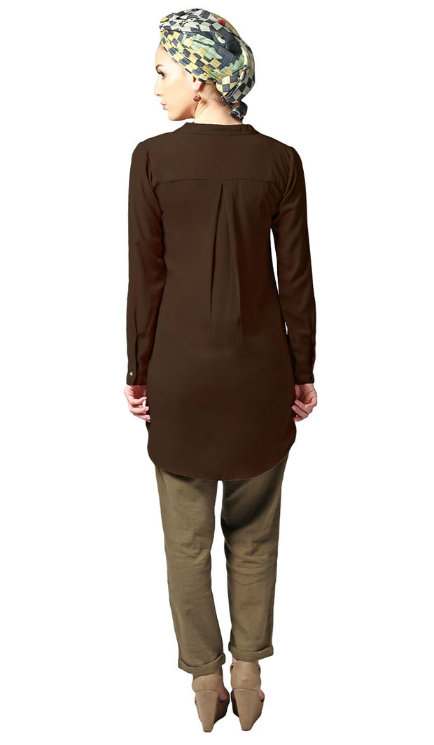 Parisa Long Modest Everyday Tunic - Chocolate Brown