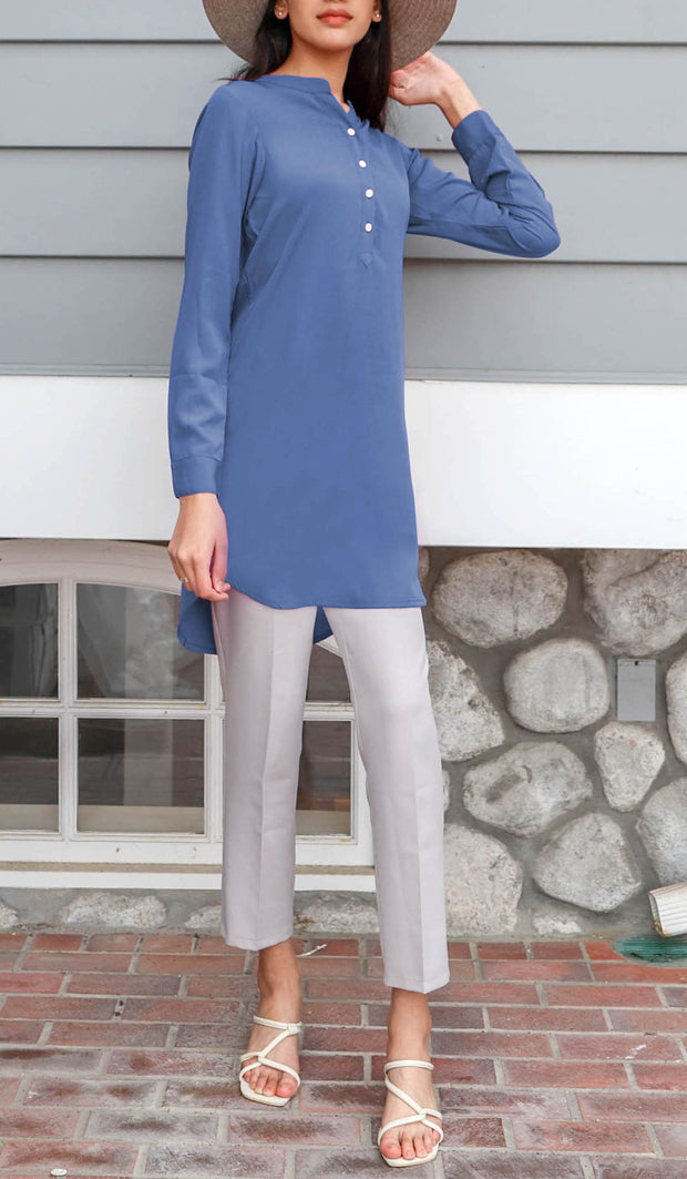 Parisa Long Mostly Cotton Everyday Tunic - French Blue - PREORDER