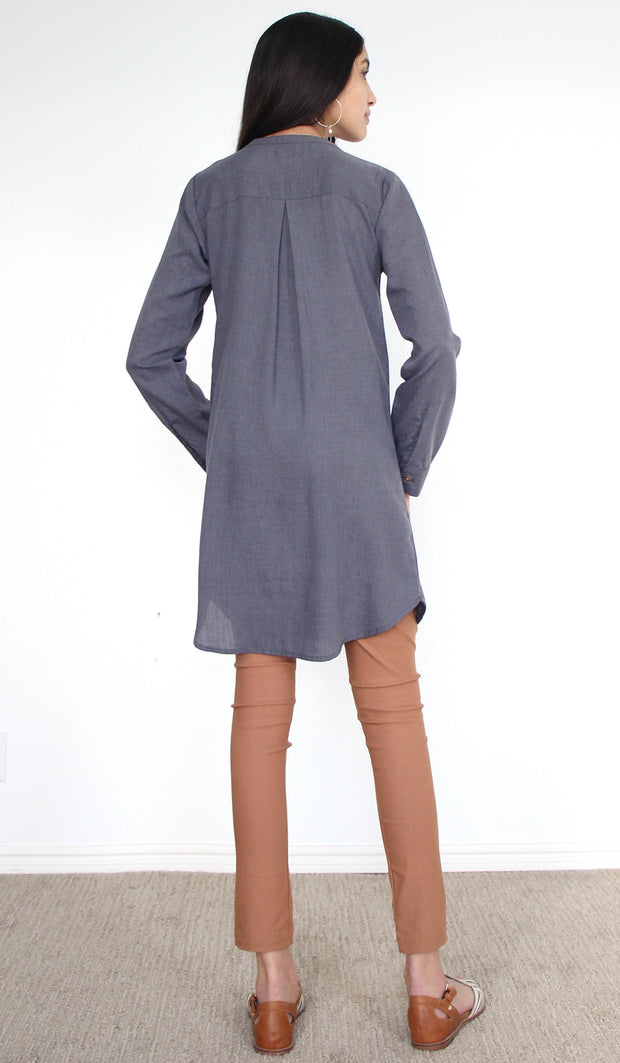 Parisa Long Modest Everyday Tunic - Heather Gray