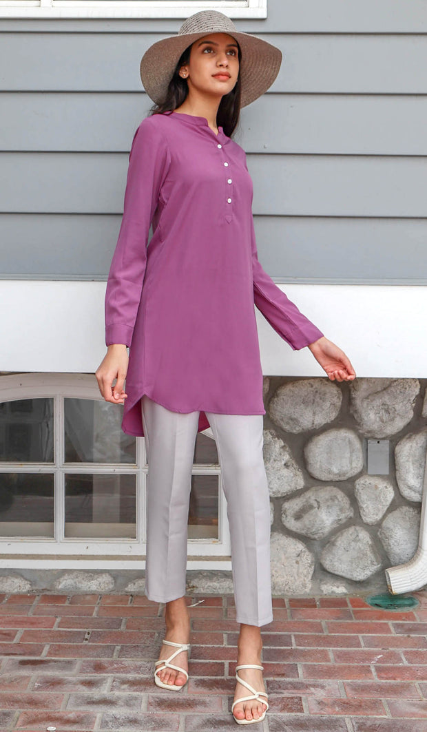 Parisa Long Modest Everyday Tunic - Mauve