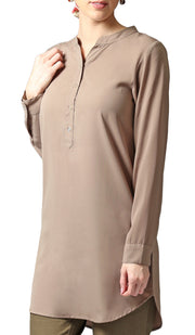 Parisa Long Modest Everyday Tunic - Mocha