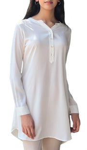 Parisa Long Modest Everyday Tunic - Off White