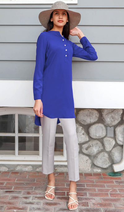 Parisa Long Modest Everyday Tunic - Royal Blue