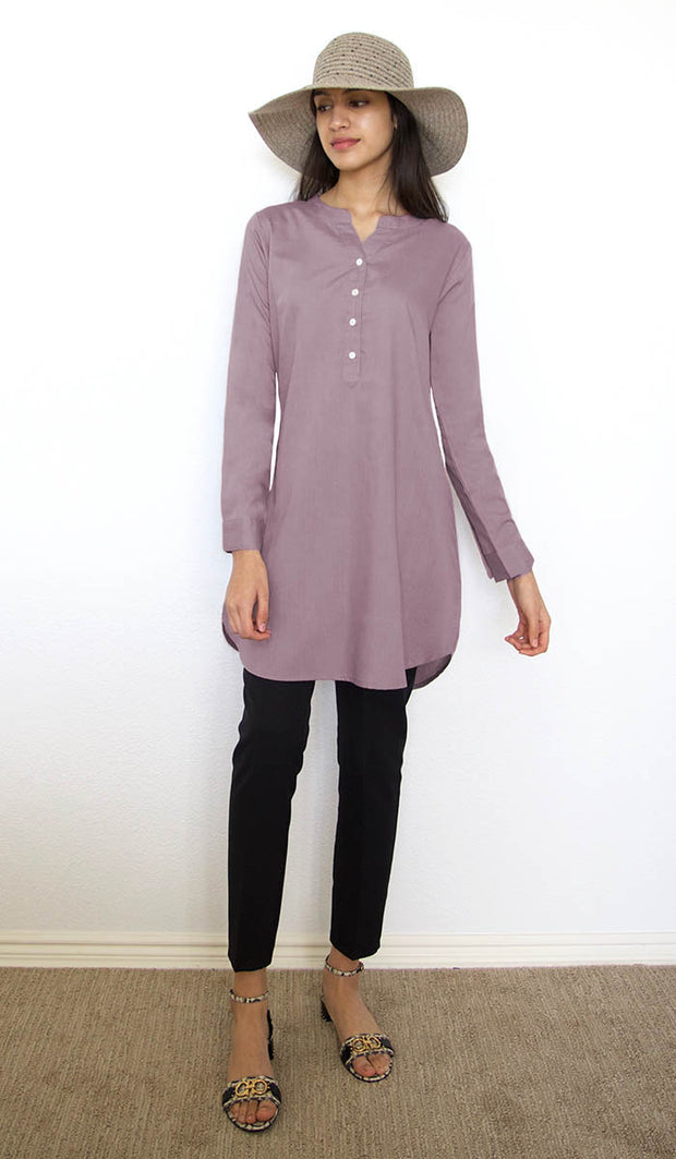 Parisa Long Mostly Cotton Everyday Tunic - Lilac