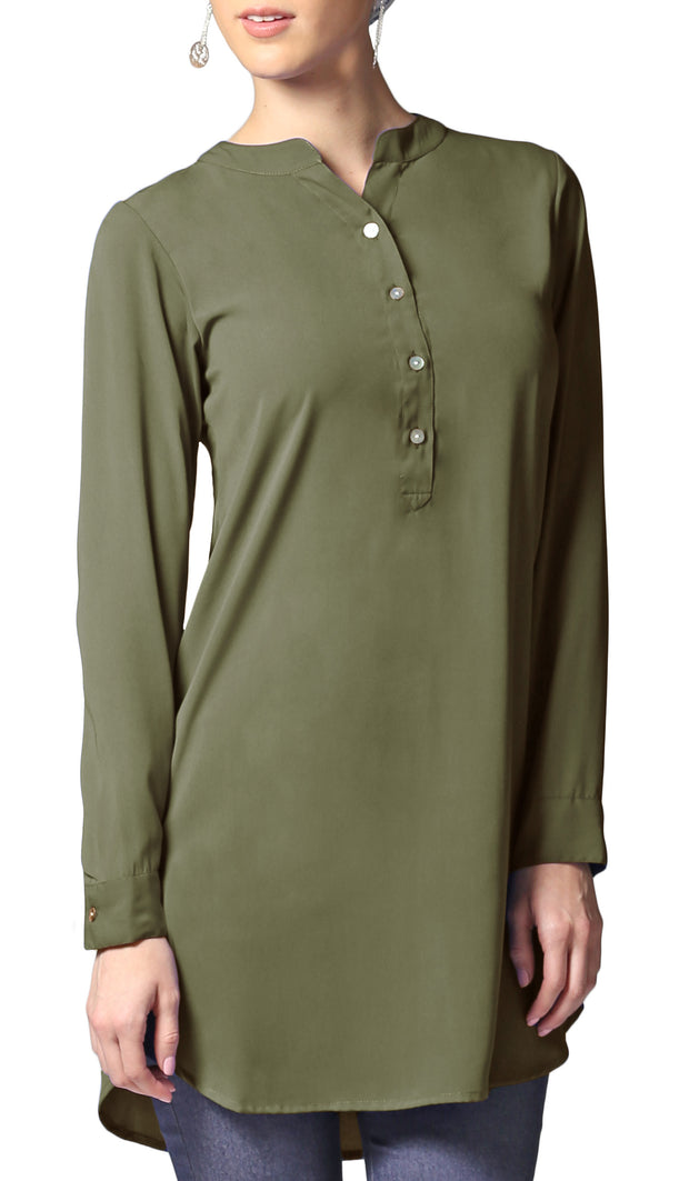 Parisa Long Modest Everyday Tunic - Olive Green