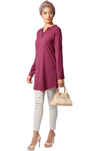 Parisa Long Modest Everyday Tunic - Purple Orchid