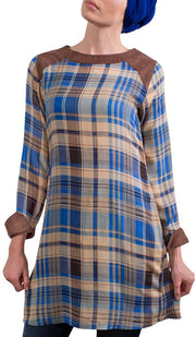 Petra Long Plaid Tunic Dress - Blue