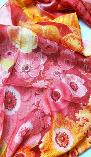 Pink and Yellow Floral Hijab