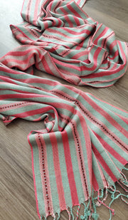 Pink and Sage Sequin Striped Hijab