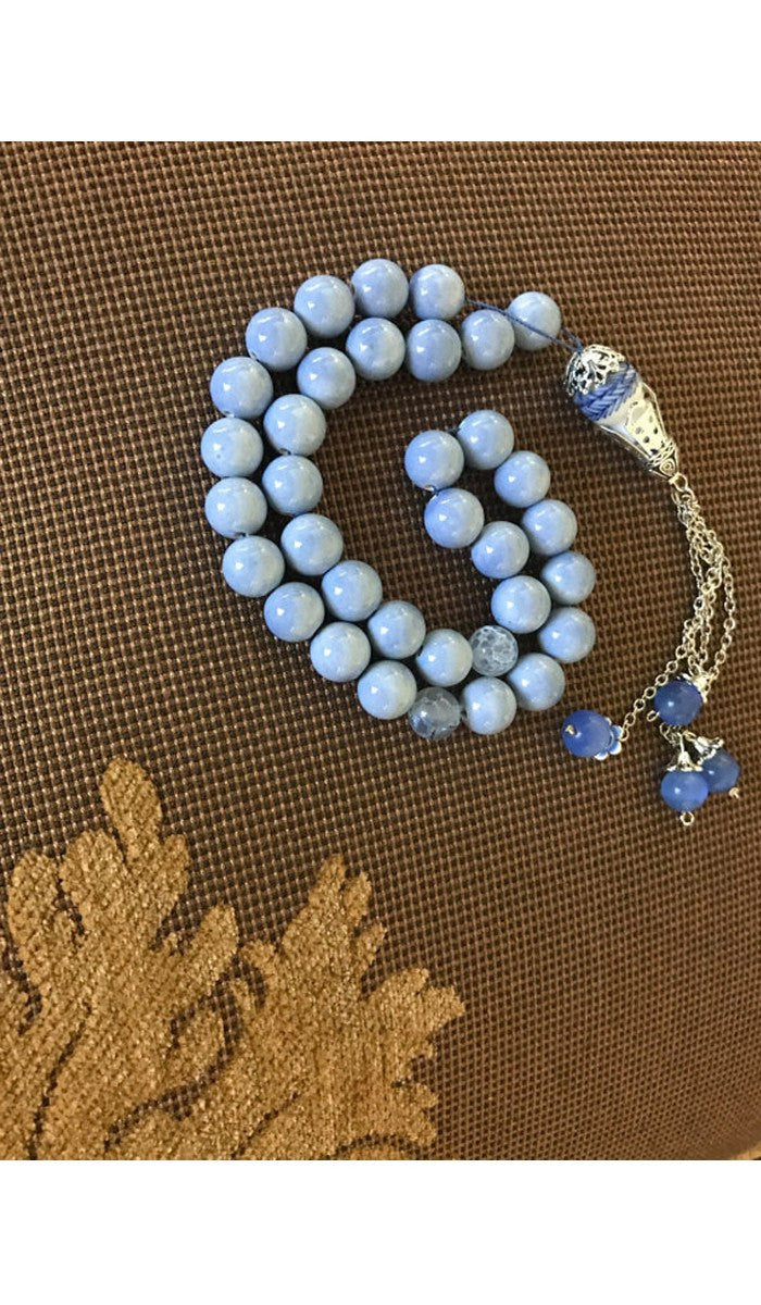 Handmade Powder and Cerulean Blue on Silver Tasbih, Tasbeeh, Misbaha, Sebha, Prayer Beads