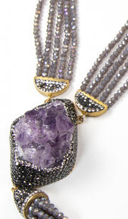 Purple Amethyst Geode Long Statement Necklace