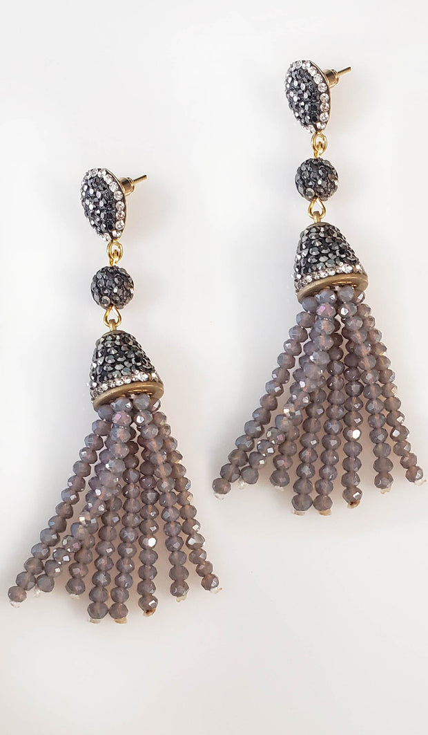 Purple Gray Turkish Tassel Earrings