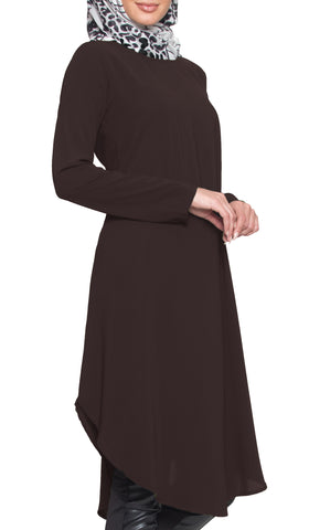 Rabeea Long Curved Hem Midi Tunic Dress - Brown
