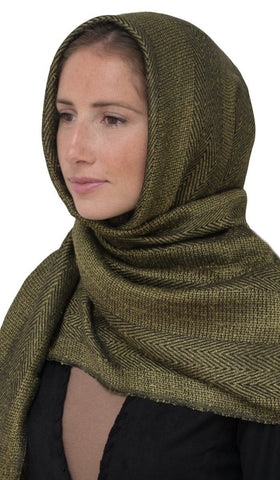 RUMA OLIVE GREEN AND BLACK FINE CHEVRON STRIPE SHAWL HIJAB