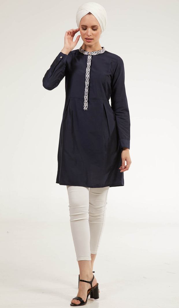 Rabia Embroidered Long Modest Tunic - Off Black