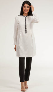 Rabia Embroidered Long Modest Tunic - Pearl White