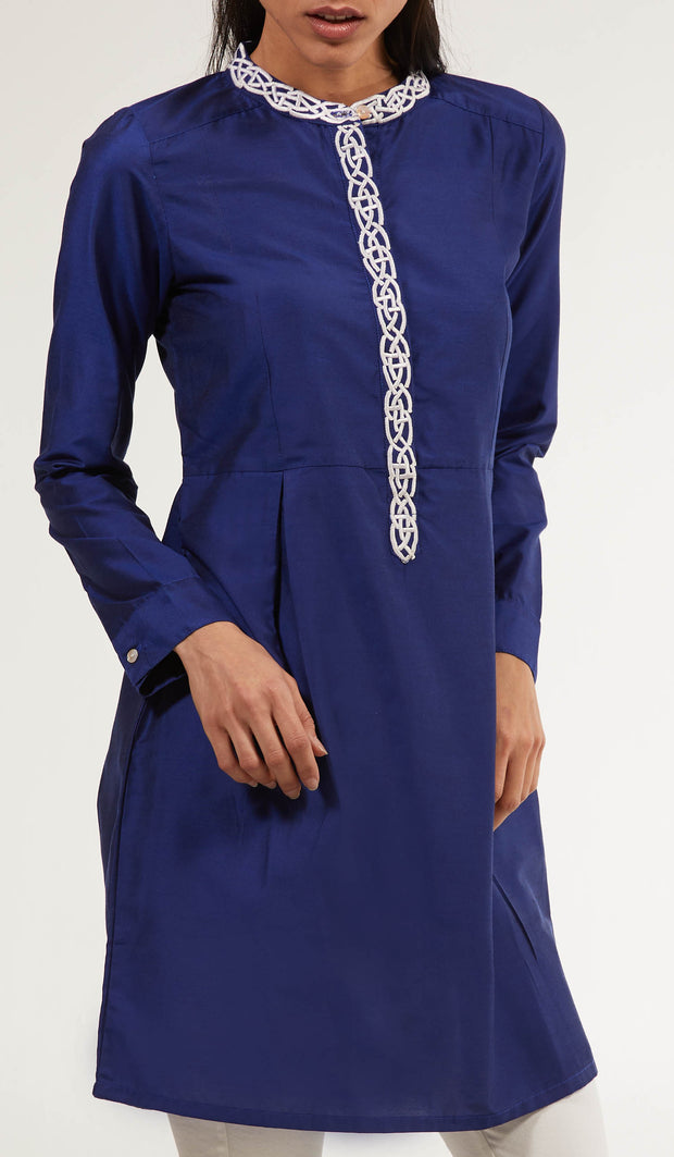 Rabia Embroidered Long Modest Tunic - Royal Blue