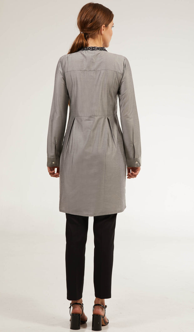 Rabia Embroidered Long Modest Tunic - Silver Gray