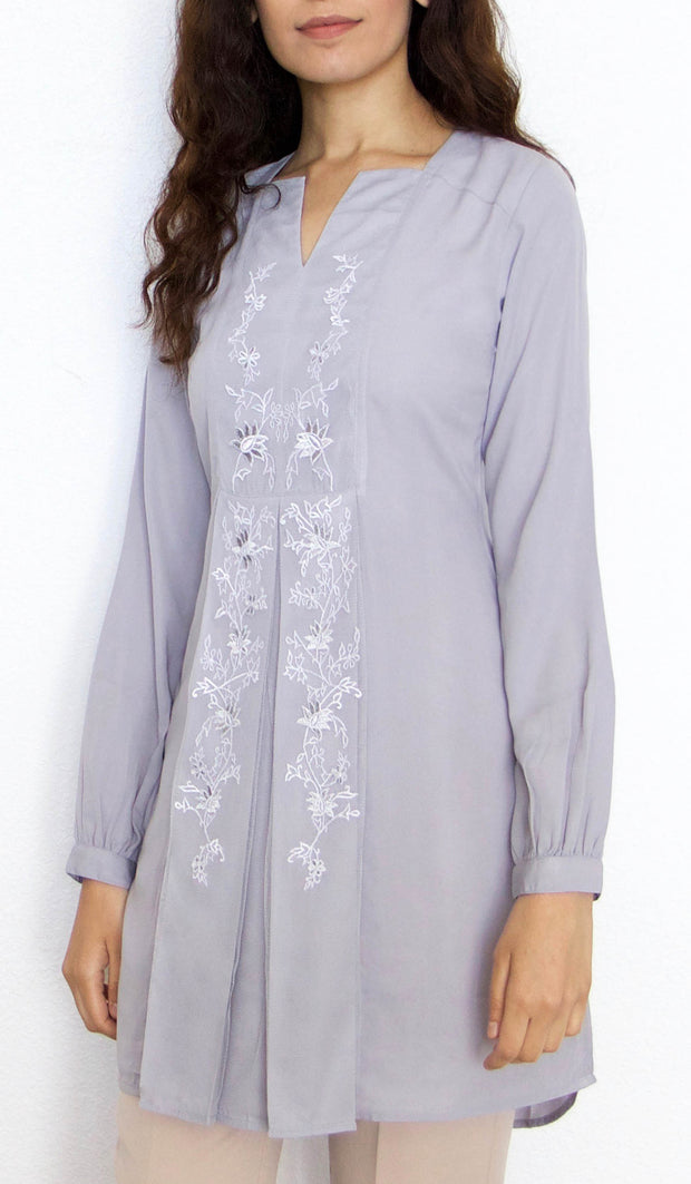 Rafa Embroidered Long Modest Tunic - Silver Mist - PREORDER