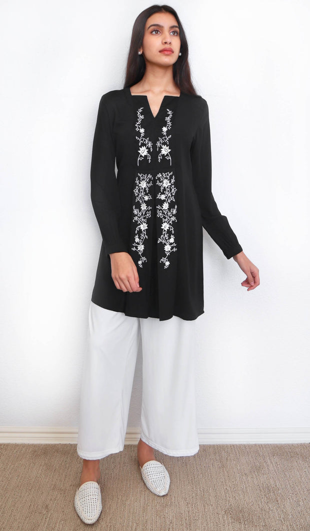 Rafa Embroidered Long Modest Tunic - Black
