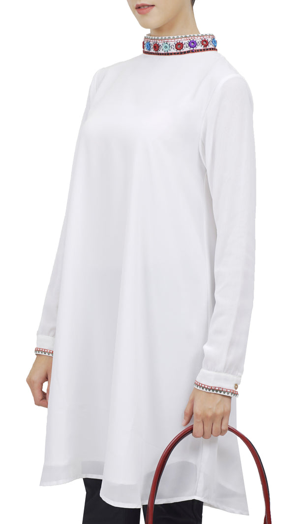 Reba Mirror Embroidered Midi Tunic Dress - White