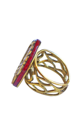 Red and Gold Tawakkaltu Ala Allah Trust Arabic Ring