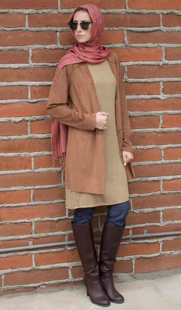 Zeena Faux Suede Light Long Jacket - Brown