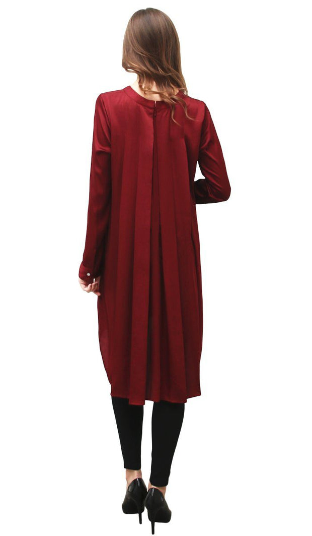 Reem Charmeuse Satin Formal Long Tunic Dress - Maroon