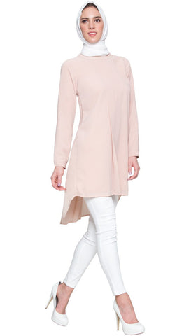 Reem Pleated Chiffon Long Tunic - Antique Rose