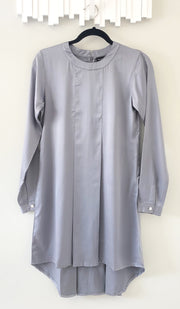 Reem Pleated Silky Formal Long Modest Tunic - Gray Pearl