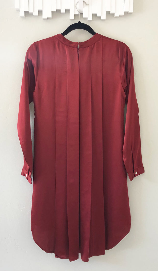 Reem Silky Formal Long Tunic Dress - Maroon